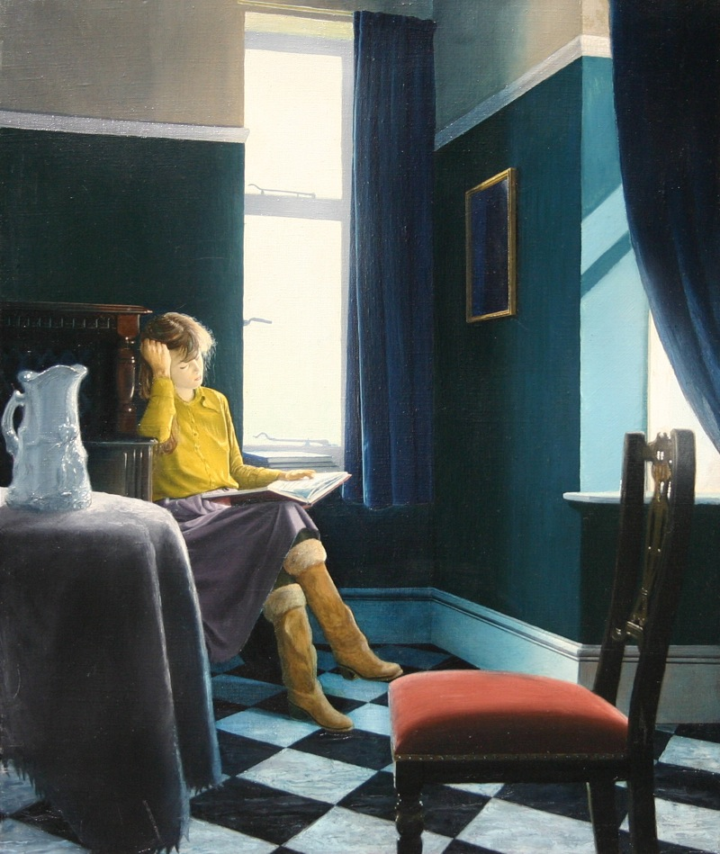 Girl Reading Book painting by Richard Harby