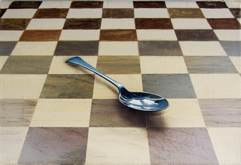 Spoon on Chessboard painting by Richard Harby