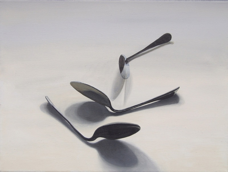 Geller Bending Spoons painting by Richard Harby